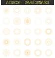 Set of orange sunburst Geometric shapes and light vector image