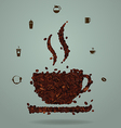 Roasted coffee beans in the shape of a cup vector image
