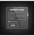 transparent login box on textured background vector image