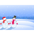 snowmans in winter landscape vector image