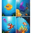 Sea animals swimming in the ocean vector image