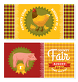 County fair vintage invitation cards vector image