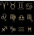 Golden zodiacal signs vector image