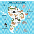Map of south America continent with animals vector image