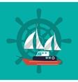 sail boat emblem image vector image
