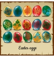 Set of fifteen colorful Easter eggs vector image