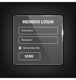 transparent login box on textured background vector image