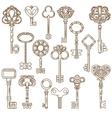 Vintage Keys Line Works Set vector image