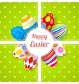 Easter green background card with ornament eggs vector image