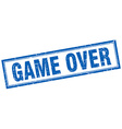 game over blue square grunge stamp on white vector image