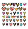 hand drawn set of colored hearts sketch vector image