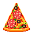 Pixel pizza slice isolated vector image