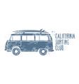 retro van with surfboards on roof - minibus vector image