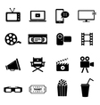 Set of icons - cinema movies and film industry vector image