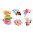 Watercolor confectionery set icon collection with vector image