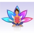 Yoga women Asana pose on lotus background vector image