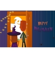 Halloween party Children collect candy Night of vector image