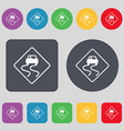 Road slippery icon sign A set of 12 colored vector image