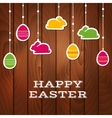 Easter greeting card with hanging stickers vector image