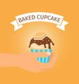 baked yellow cupcake gift vector image
