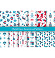 christmas seamless patterns set with many winter vector image