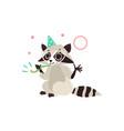 flat raccoon character having fun whistling vector image