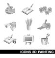 Icon Set Painting 3D vector image