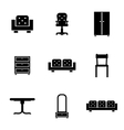 Set of furniture icons silhouettes in black vector image