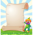 An empty paper at the hill with a clown vector image vector image
