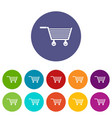 delivery cart with box icons set flat vector image