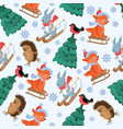 Christmas forest animals seamless pattern vector image