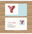 business card letter Y vector image vector image