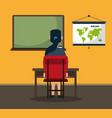 student seated in classroom vector image