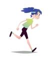 Blue-haired Girl Running vector image