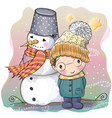 cute boy and snowman vector image
