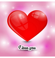 red heart on pink background with title I Love You vector image vector image
