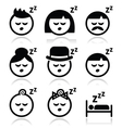 Sleeping dreaming people faces icons set vector image