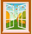 landscape through window vector image