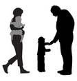 family with two children silhouette vector image