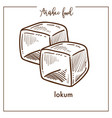 delicious sweet cubes of lokum from arabic food vector image