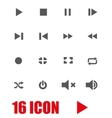 grey media player icon set vector image