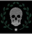 human skull embroidery vector image