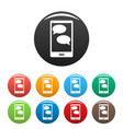 mobile chat icons set vector image