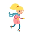 Pretty cheerful little girl thermal suits skating vector image