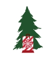 pine tree merry christmas design vector image