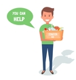 Man Volunteers with donation boxes isolated on vector image