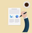 flat hands hold pencil to write document with cup vector image vector image