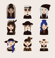 set with gothic girls characters drawn vector image