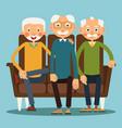 three seated elderly men vector image