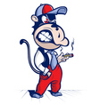 cartoon monkey smoke and smile vector image vector image